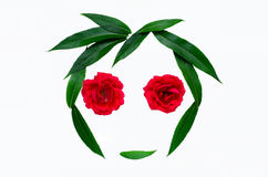 Summer abstract composition - silhouette of a face from green leaves and roses. The concept of natural beauty and love of nature. Stock Photo