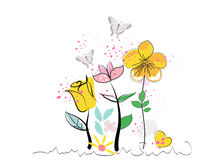 Summer abstract decorative flowers and butterfly vector background Royalty Free Stock Photography