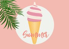 Summer Abstract Poster Background with Ice Cream. Vector Illustration. EPS10 vector illustration