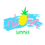 Summer abstract print with text aloha and pineapple on white background. Illustration for t-shirts. Vector Stock Image