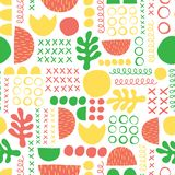 Summer abstract seamless vector pattern. Green yellow coral red leaf plant and geometric shapes. royalty free illustration