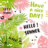 Summer abstract vector poster with tropical leaves. And text Royalty Free Illustration
