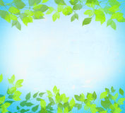 Summer abstract watercolor. Summer watercolor abstract background with green leaves on tree. Festive background. Green leaves and blue sky. Hand drawn Stock Image