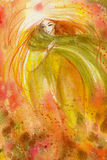 Autumn. Abstract watercolor illustration depicting a portrait of a woman-autumn Royalty Free Stock Photography