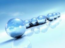 Summer Abstraction. With 3d chrome balls, blue sky background Royalty Free Stock Photography