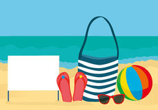 Summer accessories for the beach. Bag, sunglasses, flip flops, ball. Blank form or card for text or advertising. Against the back Stock Image