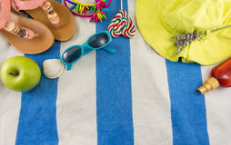Summer accessories on beach towel Stock Images