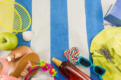 Summer accessories on beach towel Stock Image