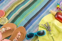 Summer accessories on beach towel Stock Photography