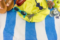 Summer accessories on beach towel Stock Photos