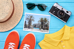 Summer accessories and fashion set. Colored youth accessories, blue background Stock Photography