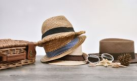 Summer accessories and fashion, Set of straw hats, Different type. Summer accessories and fashion, Set of straw hats, Different type of style comparison stock photo