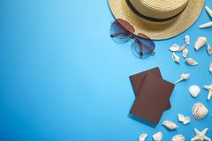 Summer accessories holiday banner background stock photography