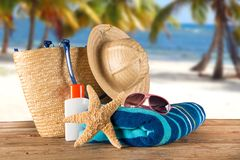 Summer accessories on sandy beach. Stock Photography