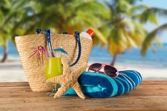 Summer accessories on sandy beach. Royalty Free Stock Image