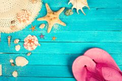 Summer accessories and shells Stock Images