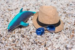 Summer accessories, sunglasses beach toys and hat Royalty Free Stock Photo