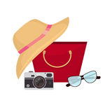 Summer accessories, swimsuit, sun glasses, bag and flip-flops. Vector illustration Royalty Free Stock Photo