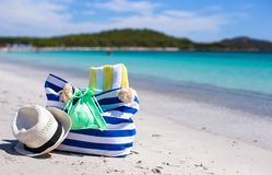 Summer accessories, swimsuit, sunglasses, bag and Royalty Free Stock Photo