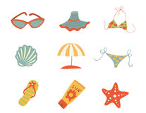 Summer accessories. Vector icons Royalty Free Stock Image
