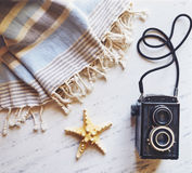 Summer accessories on white marble. Royalty Free Stock Photography
