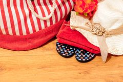 Summer accessories on wooden surface Stock Image