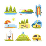 Summer activities colorful vector flat poster on white. Recreation on fresh air, riding bike, floating in boat, cooking fish soup, relaxing on beach or camping vector illustration