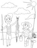Summer activities for kids coloring page Royalty Free Stock Images