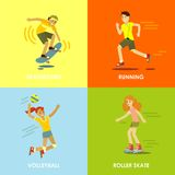 Summer activities sport and fitness concepts Stock Photos