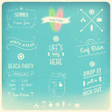 Summer Activities Typography Design Elements Stock Image
