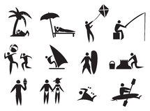 Summer Activities Vector Icon Set. Vector illustration of icon men performing summer activities Stock Photography