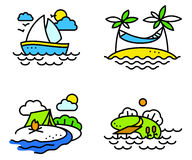 Summer activity icons set in simply thin style Stock Photo