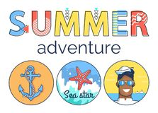 Summer Adventure Promo Banner with Marine Elements royalty free illustration