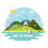 Summer Adventure Flat Design Island Landscape Royalty Free Stock Photos