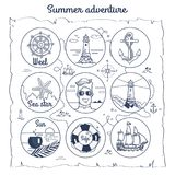 Summer Adventure Map Depicting Multiple Icons. Summer adventure map. Black-and-white vector illustration of wheel, lighthouses, anchor, sea star, sailor Royalty Free Stock Image