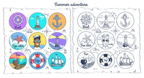 Summer Adventure Monochrome and Colorful Posters royalty free illustration