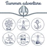 Summer Adventure Poster with Round Sketchy Icons royalty free illustration