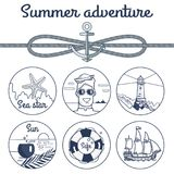Summer Adventure Monochrome Poster with Anchor stock illustration