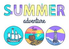 Summer Adventure Promo Banner with Round Seascapes. Large ship, beach at sunset and lighted beacon in stormy water cartoon flat vector illustrations stock illustration