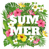 Summer. Advertising emblem with type design and tropical flowers and plants. Tropical paradise. Summer vector illustration
