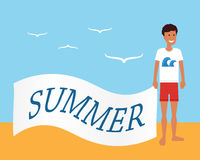 Summer advertising. Man on the beach holding banner with advertisement. Flat vector illustration. Royalty Free Stock Photo