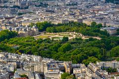 Summer aerial view on the Luxembourg Garden and rooftops in the center of Paris. France. Summer aerial view on the Luxembourg Garden, Luxembourg Palace and royalty free stock photo