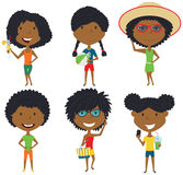 Summer African-American female characters vector illustration. Royalty Free Stock Photos