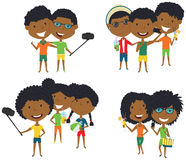 Summer African-American male and female characters make a selfie. Vector illustration. Happy cute girls and boys do group summer photos. Friendly teens posing Stock Photos