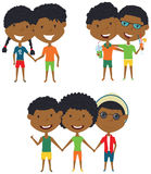 Summer  African-American people standing and holding hands. Vector set of happy boys and girls. Collection of cute female and male characters. Smiling friends Royalty Free Stock Images