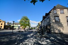 Summer afternoon leisurely street in Voss Town, Norway Stock Images