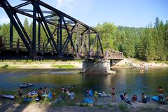 Summer afternoon river tubing at Kettle River Provincial Park, Canada Stock Photos