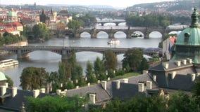 Summer afternoon on Vltava river in Prague stock footage