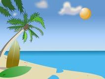 Summer again. Illustration of a sunny beach Royalty Free Stock Photo