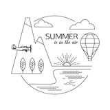 Summer is in the air. Air travel and tourism outline background. Minimalistic linear travel vacation landscape with Stock Photo